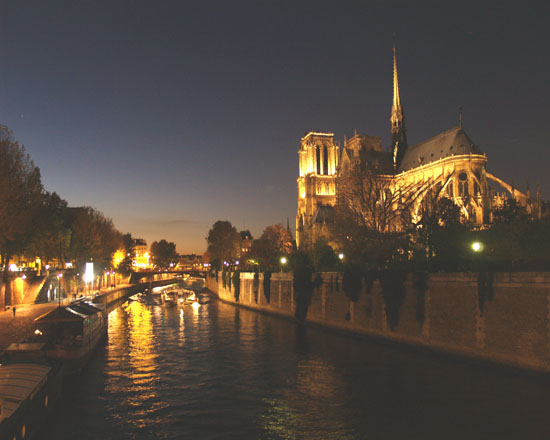 Nighttime on the Seine River